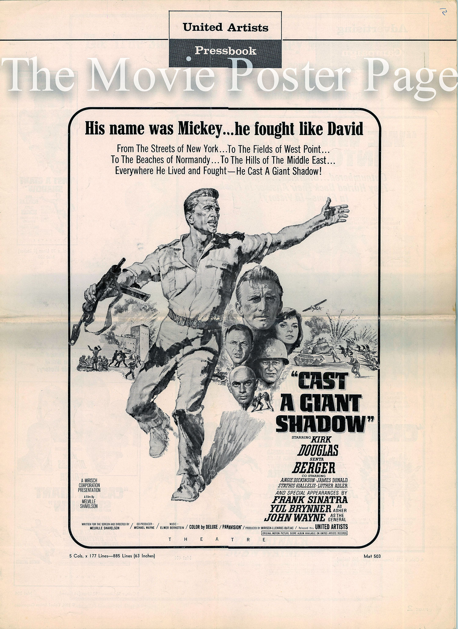Pictured is a US promotional press book for the 1966 Melville Shavelson film Cast a Giant Shadow starring Kirk Douglas and John Wayne.
