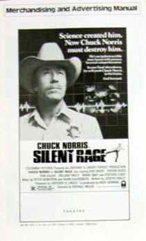 Pictured is a US promotional press book for the 1982 Michael Miller film Silent Rage starring Chuck Norris.