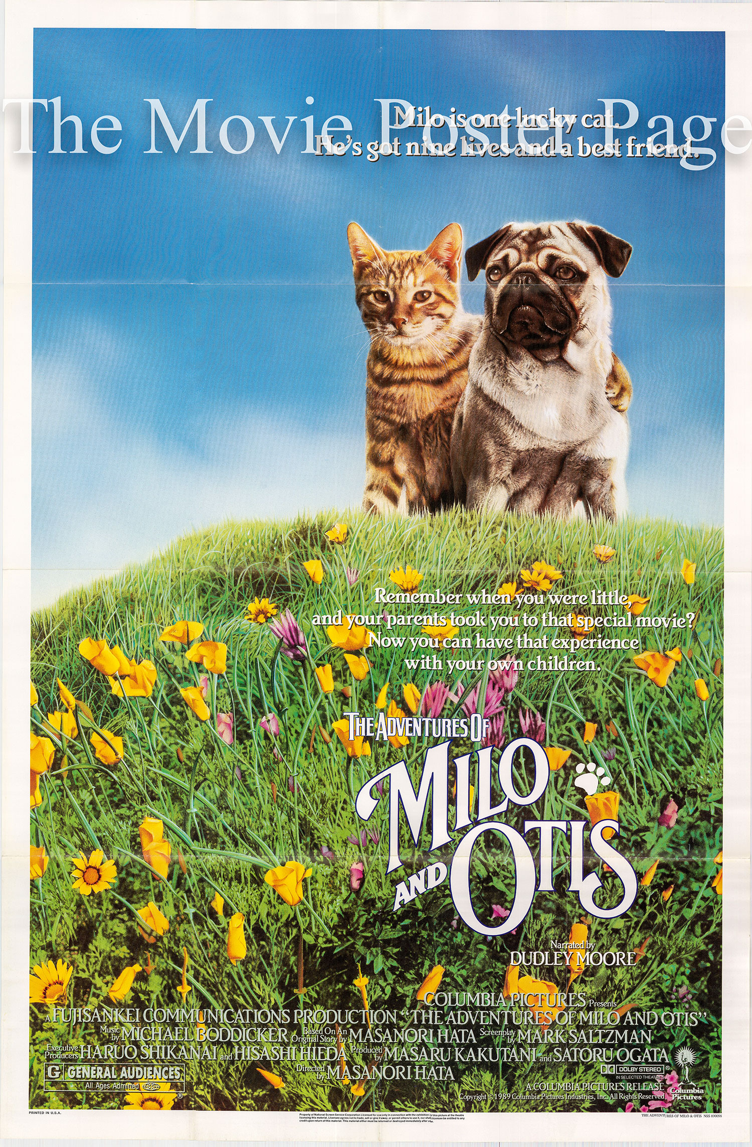 Pictured is a US one-sheet promotional poster for the US 1989 rerelease of the 1986 Masanori Hata film TheAdventures of Milo and Otis narrated by Dudley Moore and Shigeru Tsuyuki.