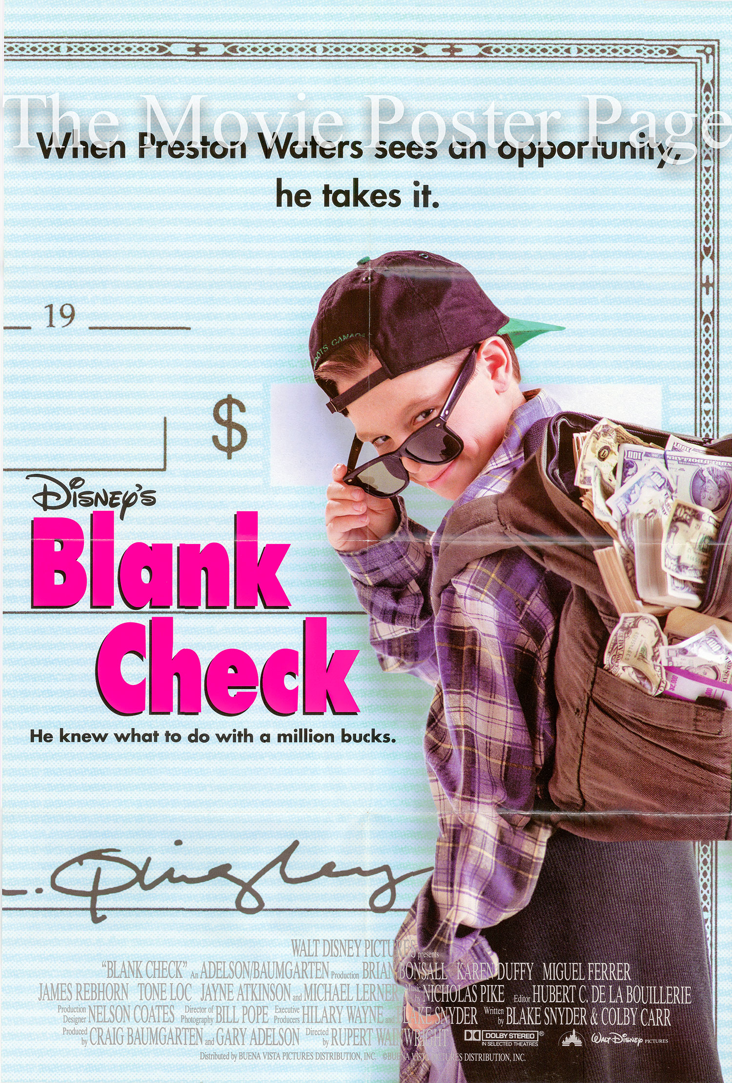 Blank Check (1994) - (Brian Bonsall) US one-sheet DS F, NM ...