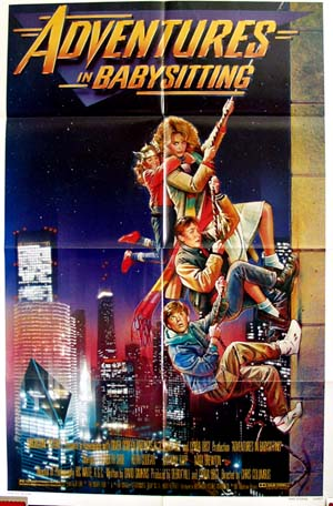 Pictured is a US one-sheet promotional poster for the 1987 Chris Columbus film Adventures in Babysitting starring Elisabeth Shue.