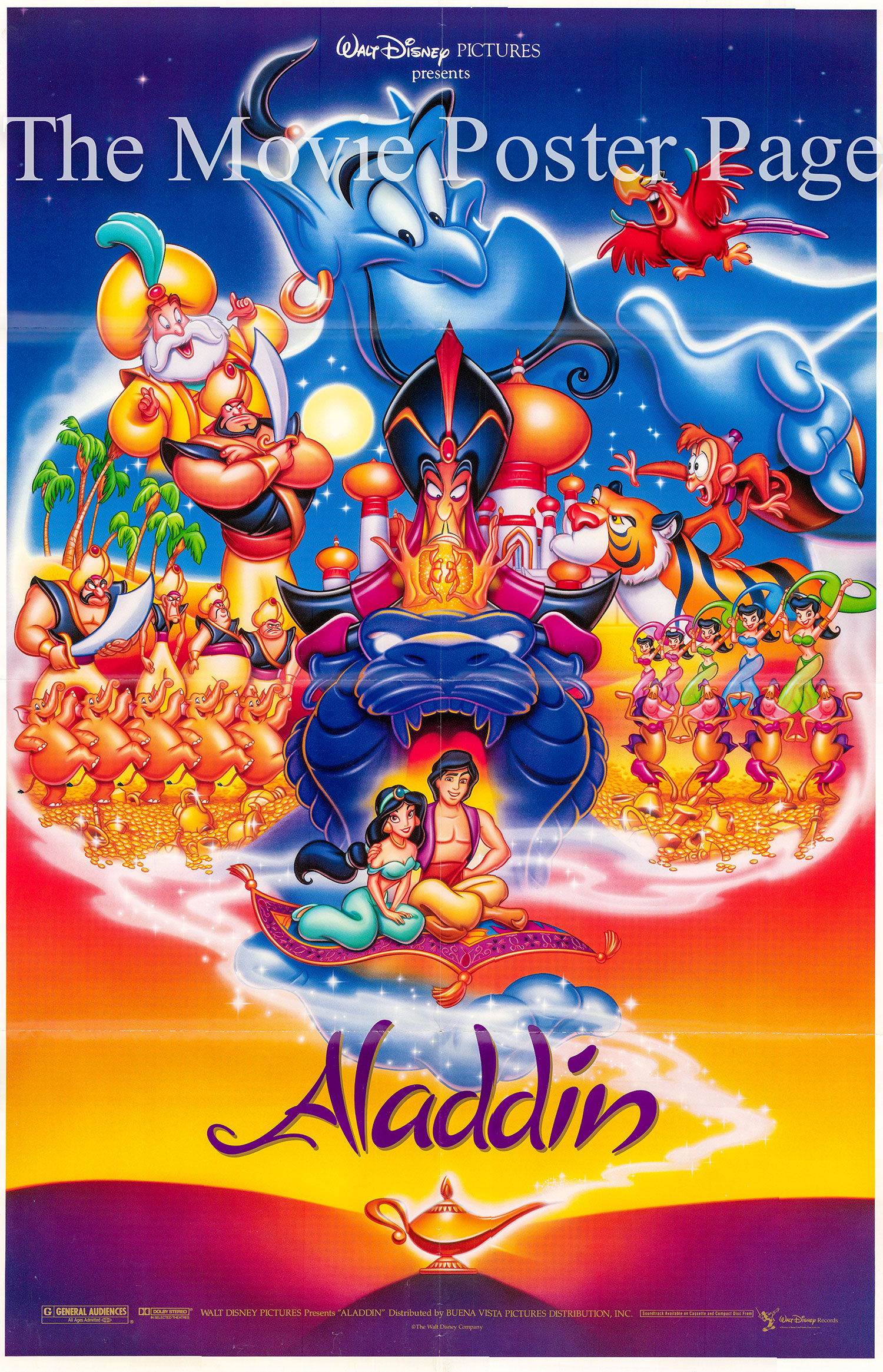 Pictured is a US promotional poster for the 1993 Ron Clements and John Musker film Aladdin starring Robin Williams as the voice of the Genie.