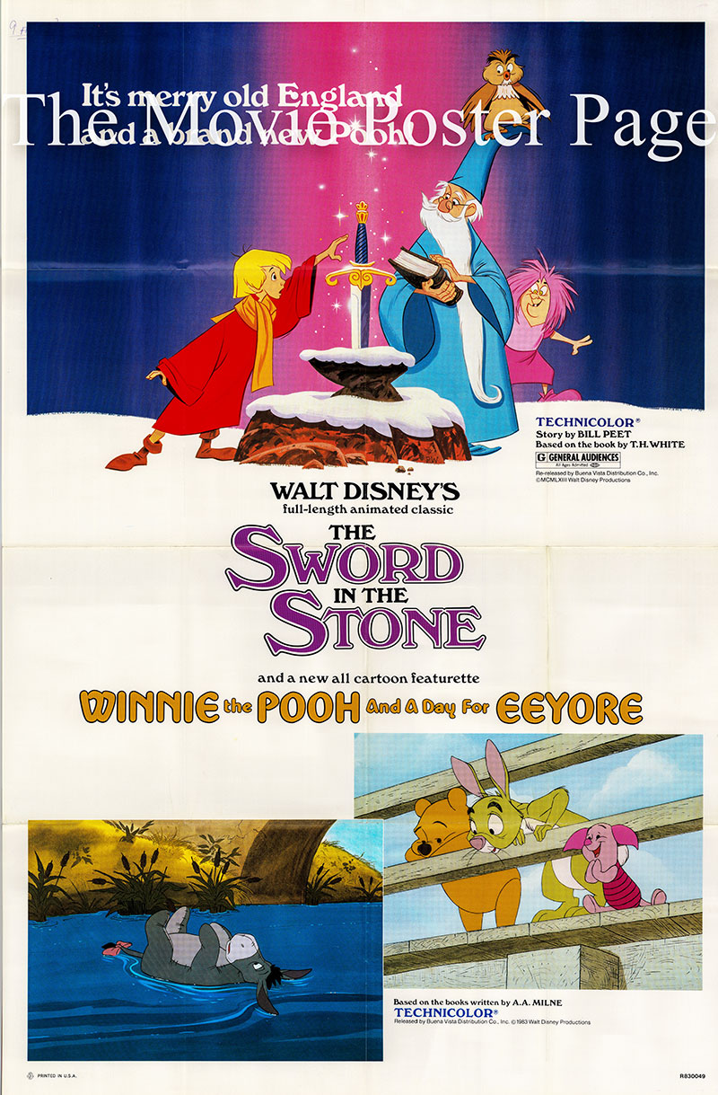 Pictured is a US promotional combo poster for the 1983 rerelease films Sword in the Stone and Winnie the Pooh and a Day for Eeyore.