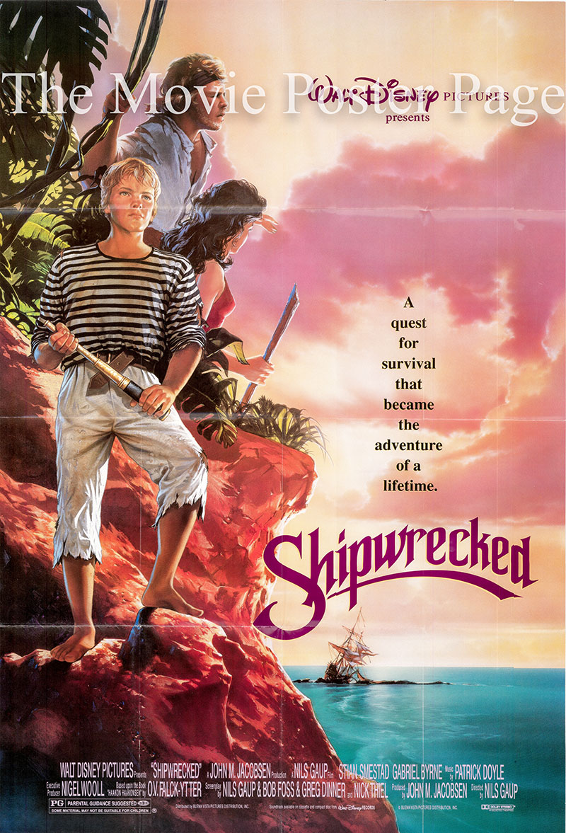 Pictured is a US promotional poster for the 1991 Nils Gaup film Shipwrecked starring Gabriel Byrne.