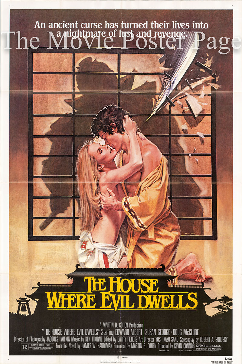 Pictured is a US one-sheet promotional poster for the 1982 Kevin Connor film The House Where Evil Dwells starring Edward Albert, based the novel by James Hardiman.