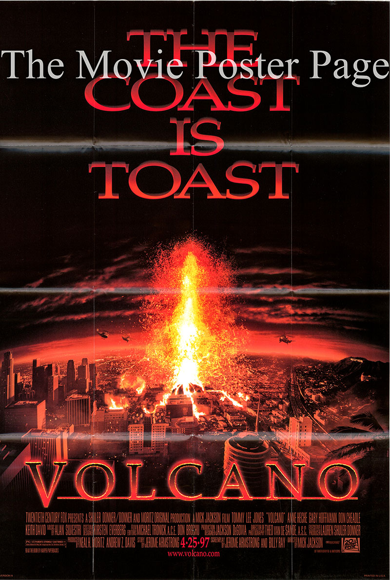 Pictured is a US one-sheet promotional poster for the 1997 Mick Jackson film Volcano starring Tommy Lee Jones.