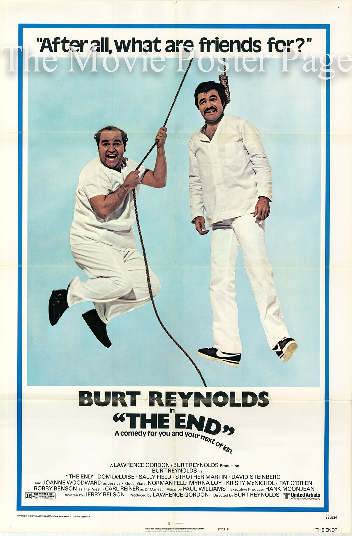 Pictured is a style B US one-sheet promotional poster for the 1978 Burt Reynolds film The End starring Burt Reynolds and Dom DeLuise.