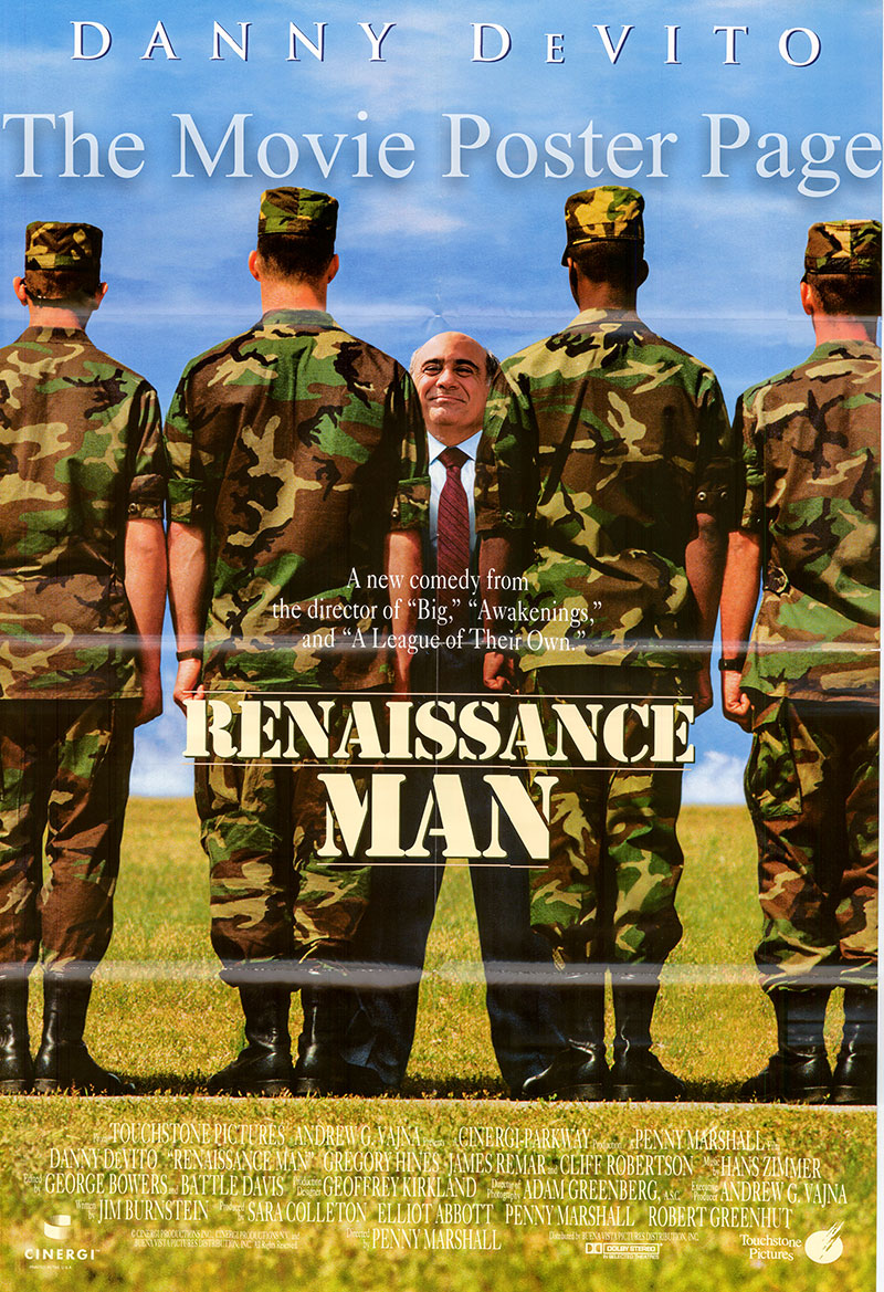 Pictured is a US one-sheet promotional poster for the 1994 Penny Marshall film Renaissance Man starring Danny DeVito.