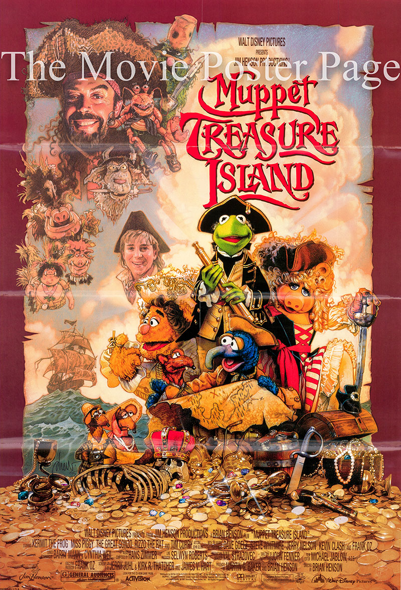 Pictured is a US promotional poster for the 1996 Brian Henson film Muppet Treasure Island starring Tim Curry.