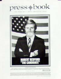 Pictured is a US promotional press book for the 1972 Michael Ritchie film The Candidate starring Robert Redford.