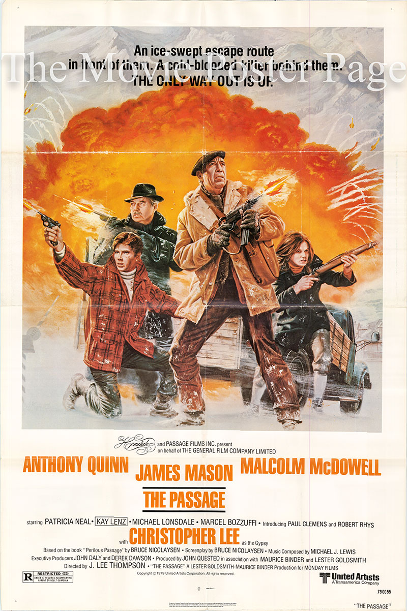 Pictured is a US one-sheet promotional poster for the 1979 J. Lee Thompson film The Passage starring Anthony Quinn.