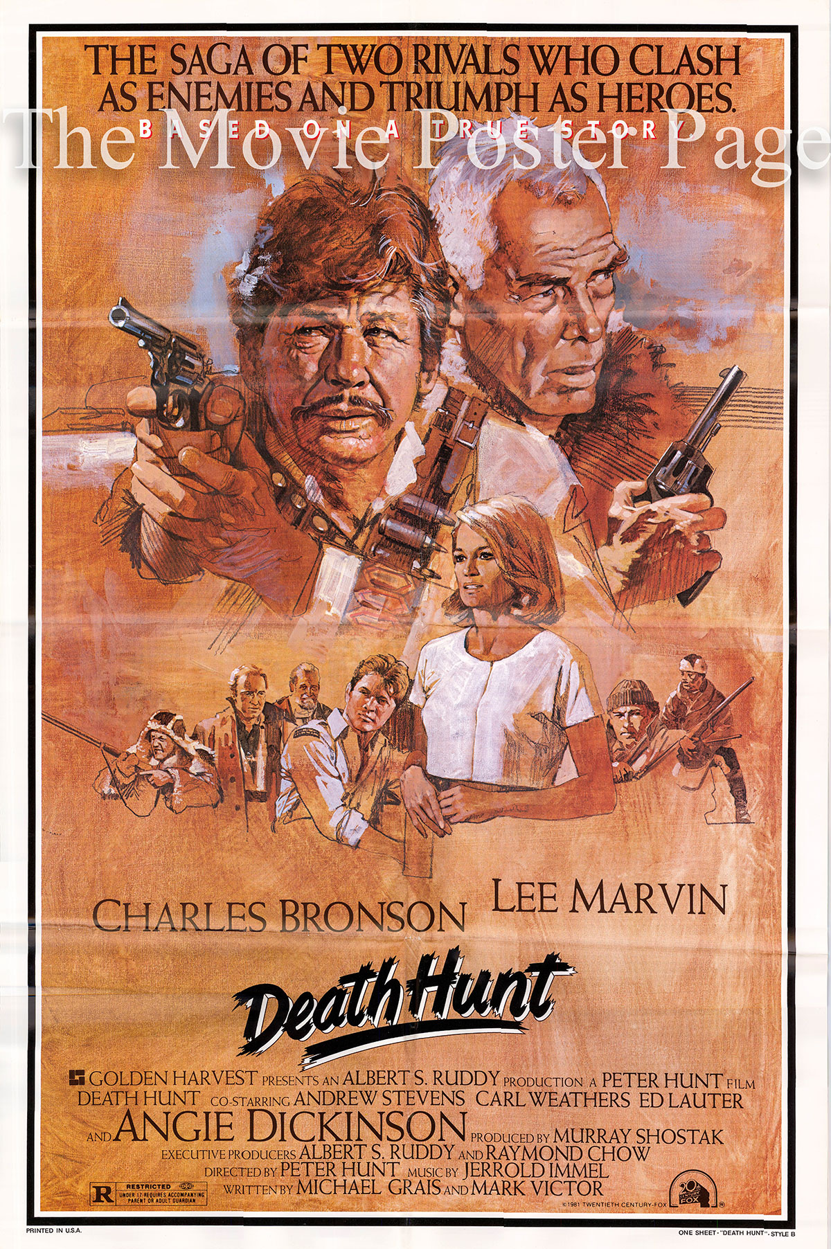 Pictured is a US one-sheet promotional poster for the 1981 Peter R. Hunt film Death Hunt starring Charles Bronson and Lee Marvin.