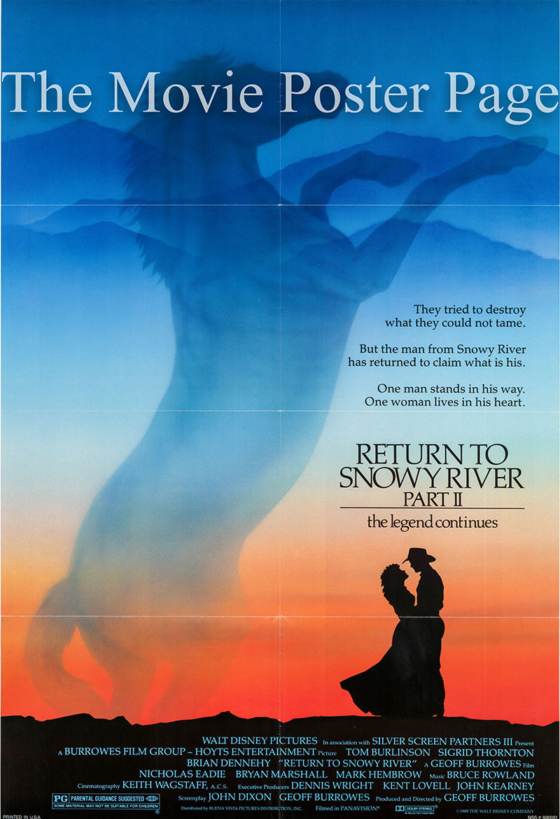 Pictured is a US one-sheet promotional poster for the 1988 Geoff Burrowes film The Man from Snowy River II starring Tom Burlinson.