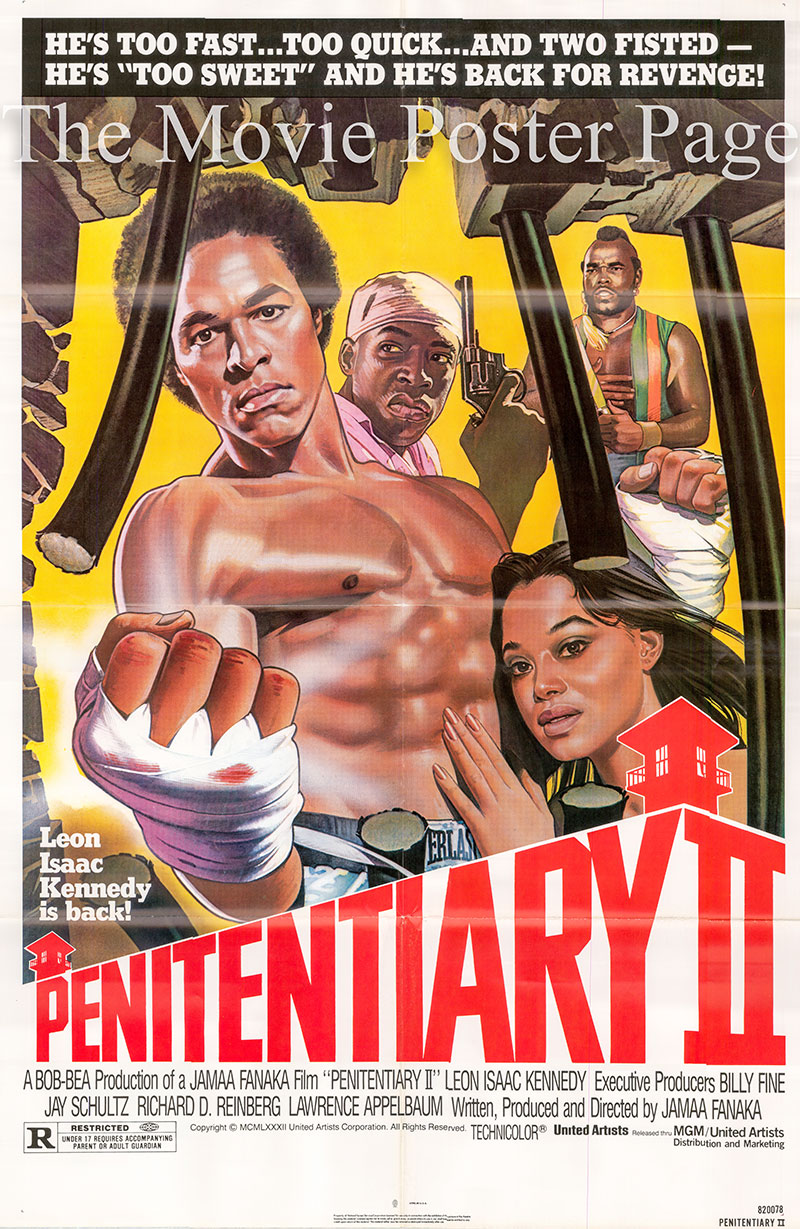 Pictured is a US promotional poster for the 1982 Jamaa Fanaka film Penitentiary II starring Leon Isaac Kennedy.