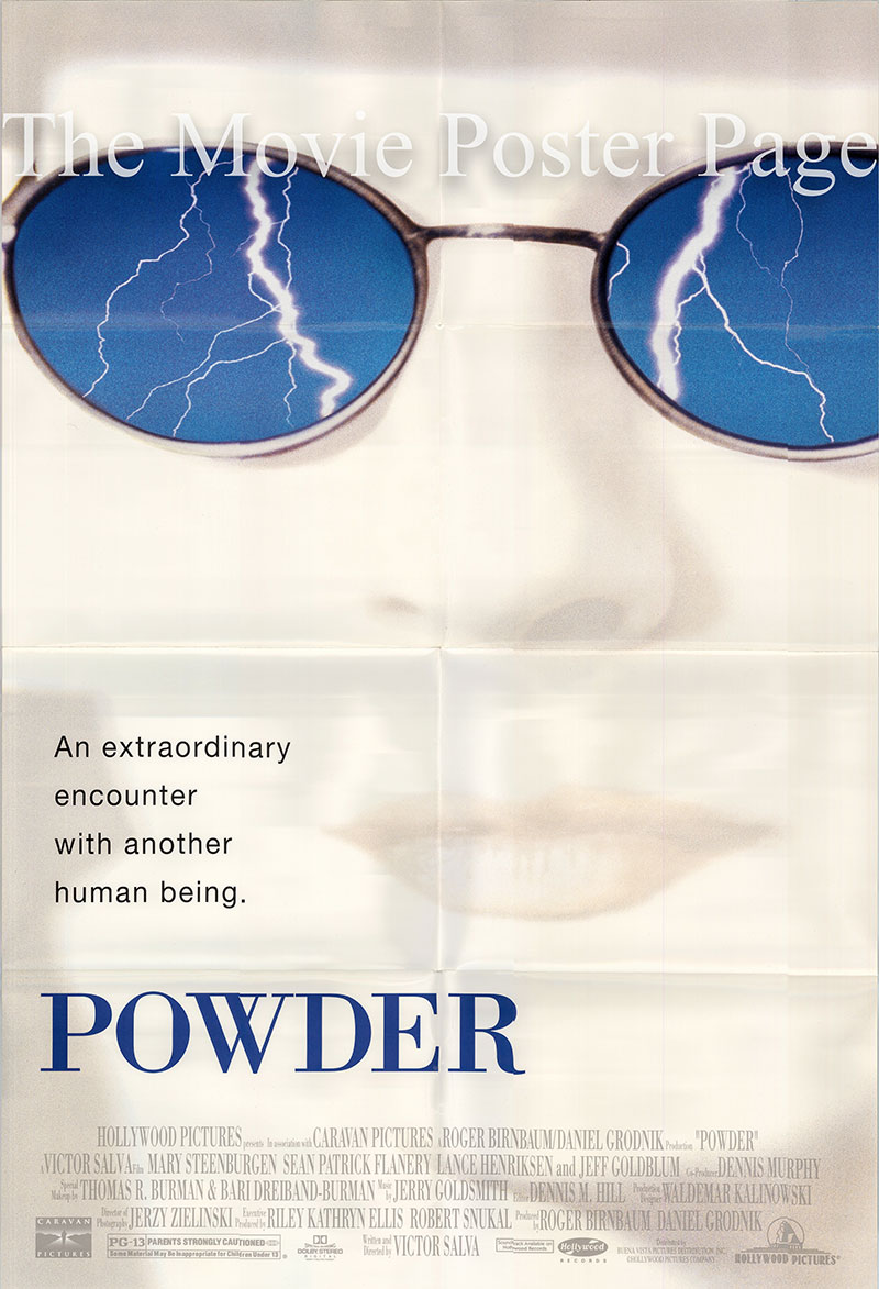 Pictured is a US one-sheet promotional poster for the 1995 Victor Salva film Powder starring Mary Steenburgen.
