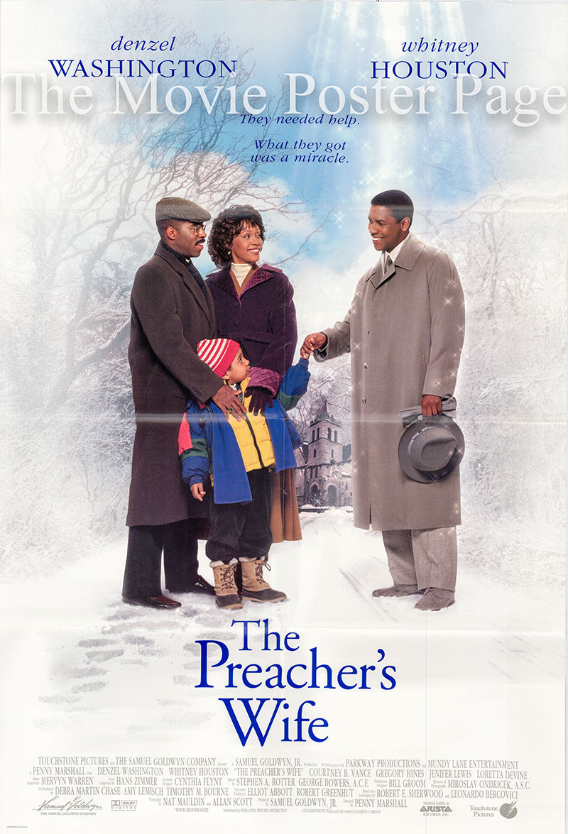 Pictured is a US one-sheet promotional poster for the 1996 Penny Marshall film The Preacher's Wife starring Whitney Houston and Denzel Washington.