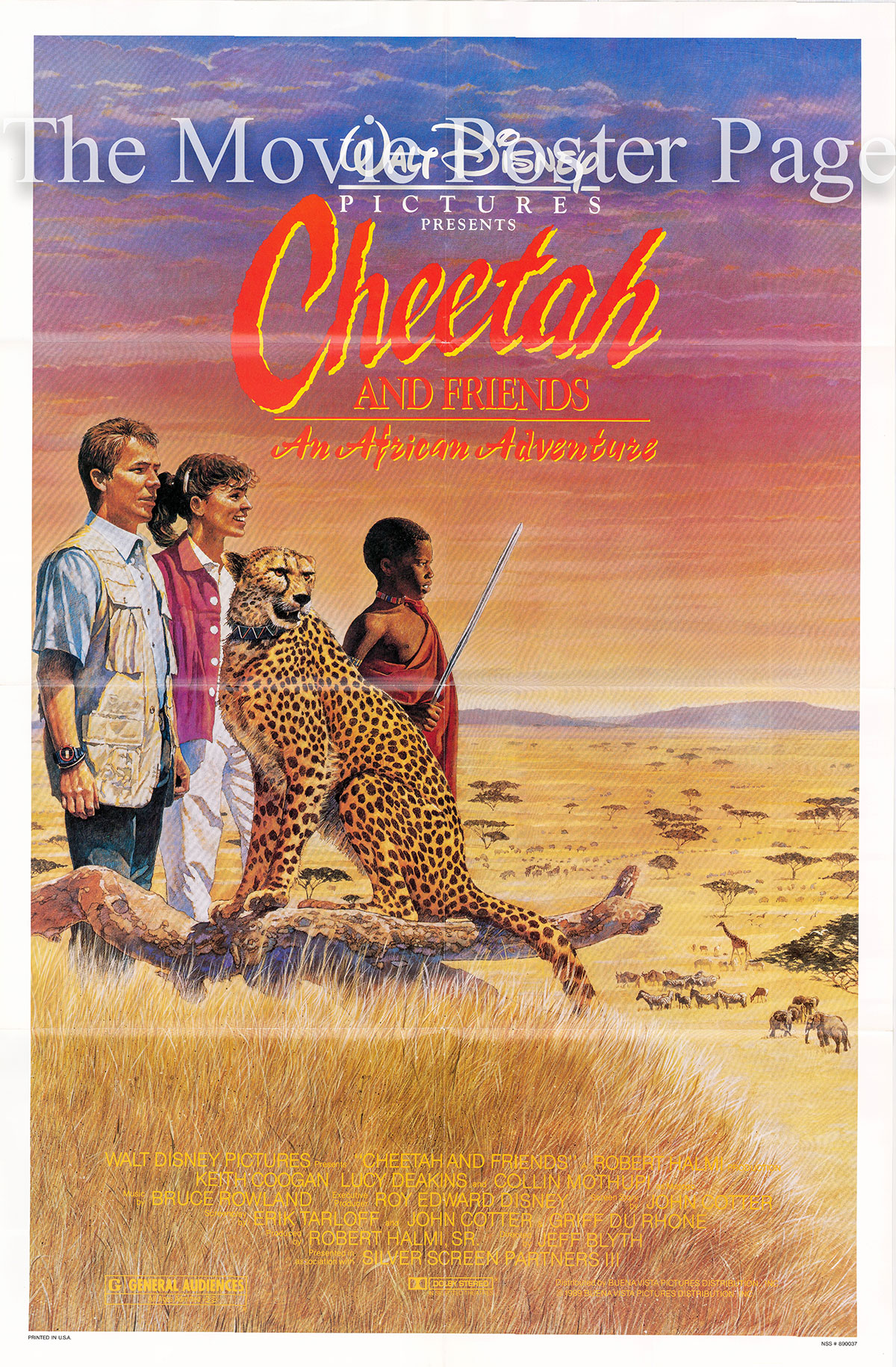 Pictured is a US promotional poster for the 1989 Jeff Blyth film Cheetah and Friends starring Keith Coogan.