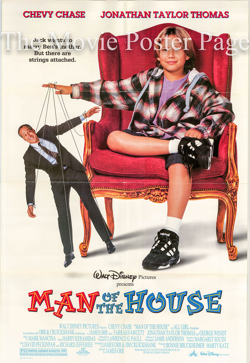 Pictured is a US promotional poster for the 1995 James Orr film Man of the House starring Chevy Chase.