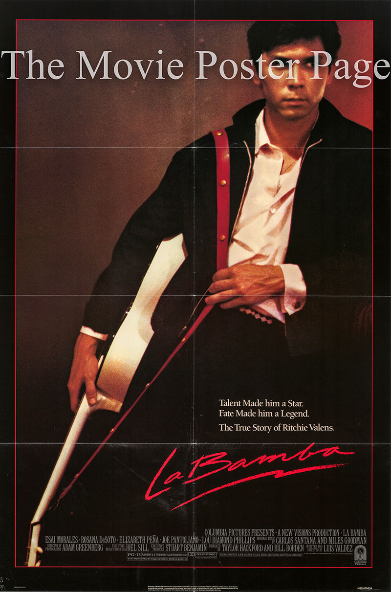 Pictured is a US one-sheet promotional poster for the 1987 Luis Valdez film La Bamba starring Lou Diamond Phillips.