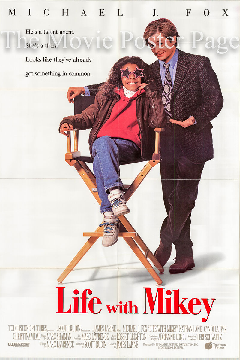 Pictured is a US one-sheet promotional poster for the 1993 James Lapnie film Life with Mikey starring Michael J. Fox.