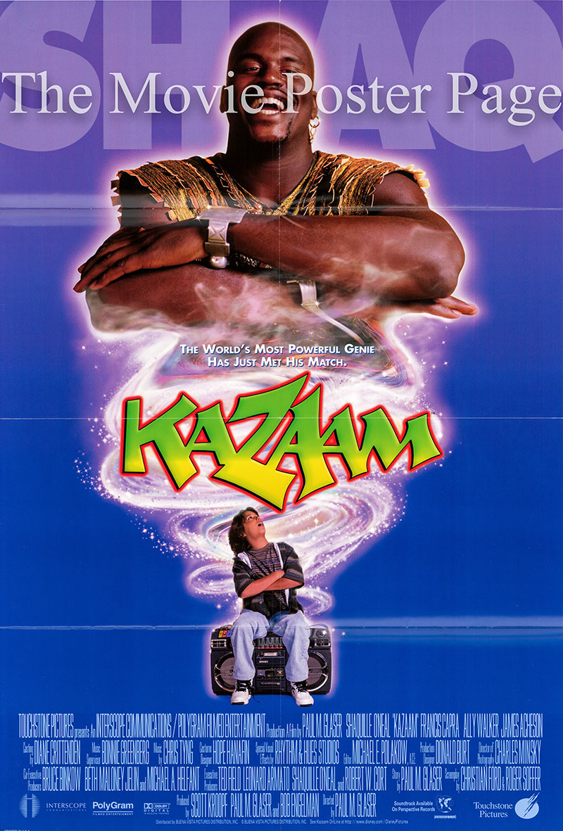 Pictured is a US one-sheet promotional poster for the 1996 Paul Michael Glaser film Kazaam starring Shaquille O'Neal.