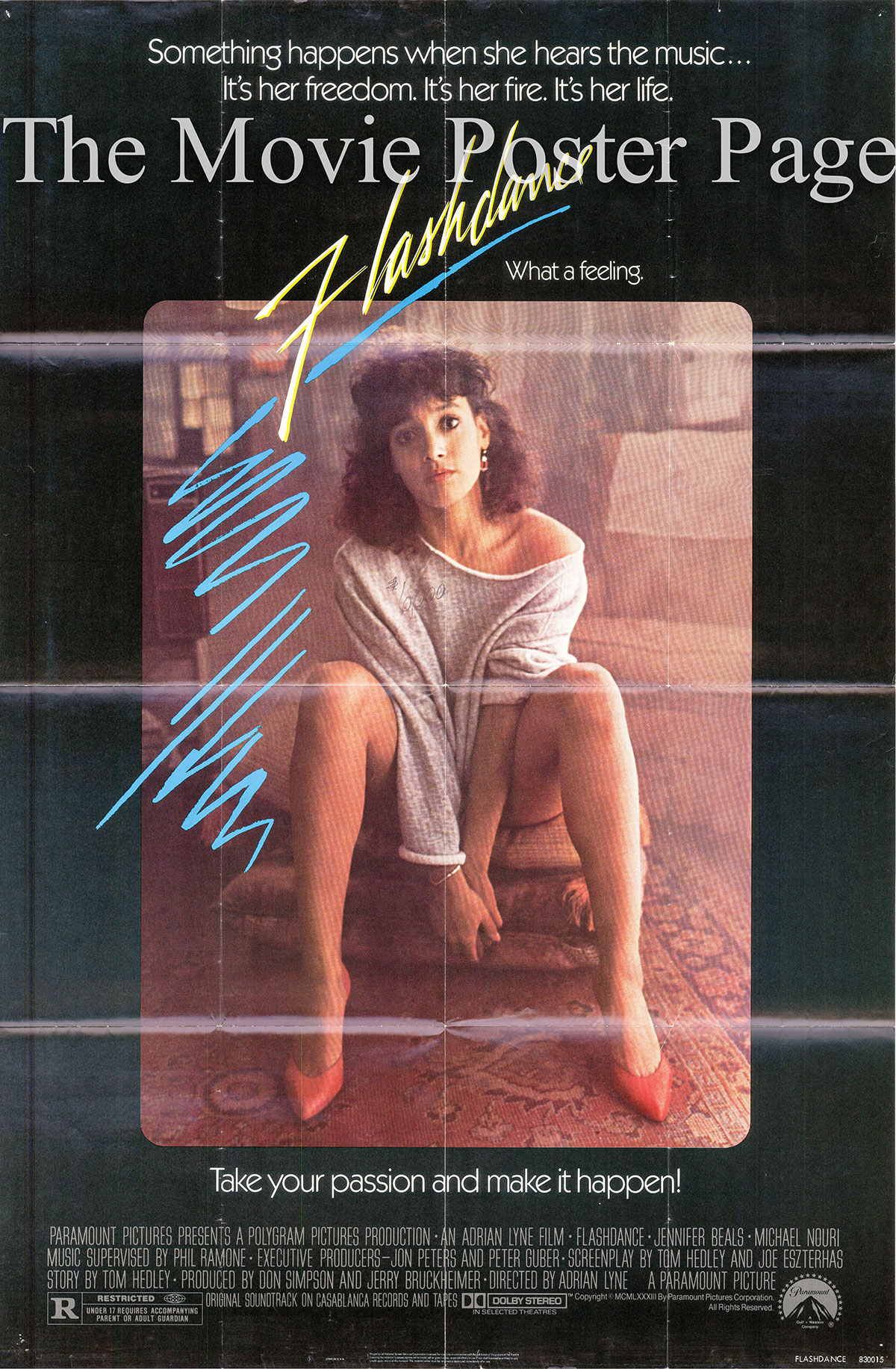 Pictured is a US one-sheet promotional poster for the 1983 Adrian Lyne film Flashdance starring Jennifer Beals.