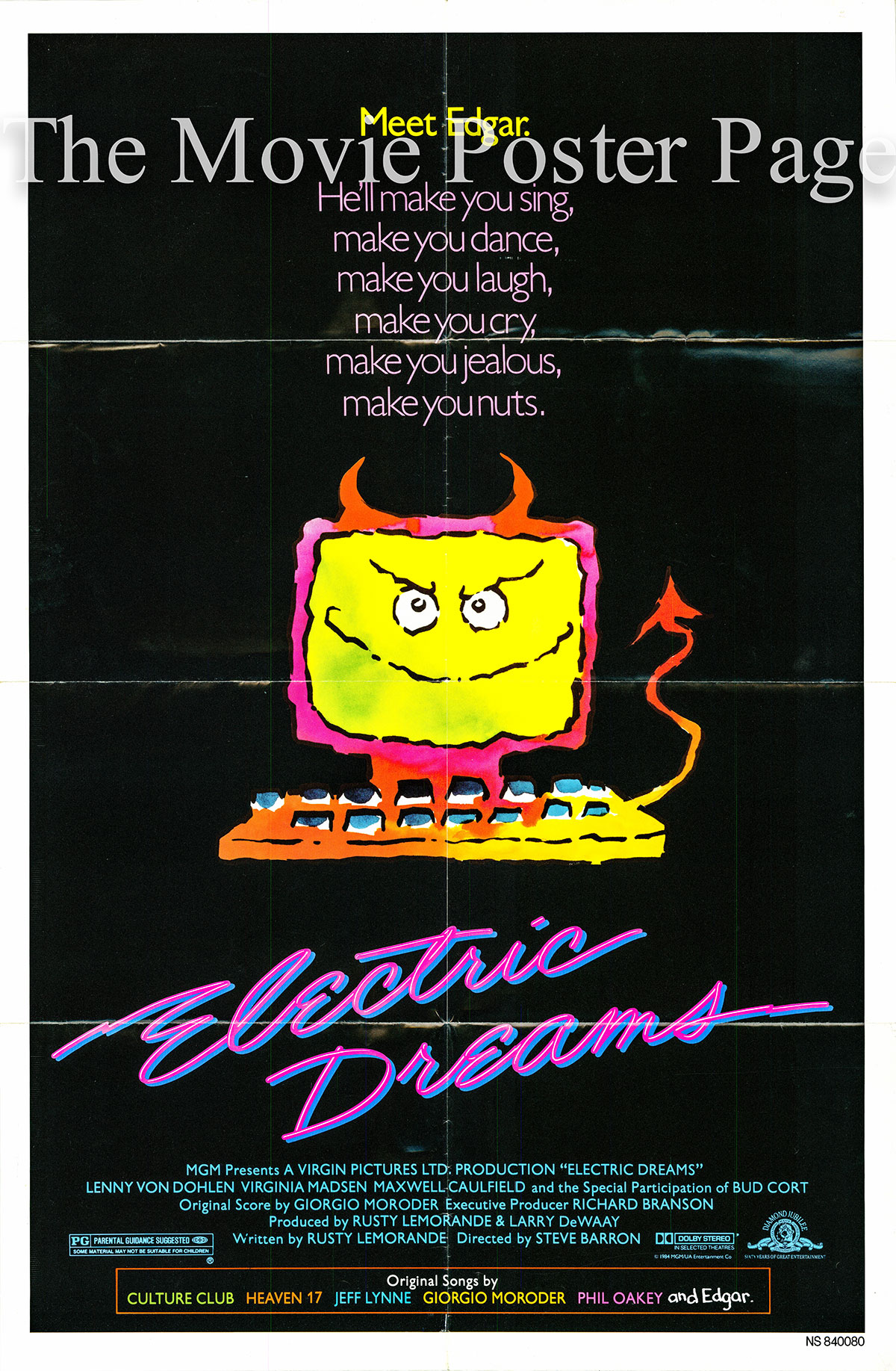 Pictured is an US one-sheet promotional poster for the 1984 Steve Barron film Electric Dreams starring Lenny von Dohlen.