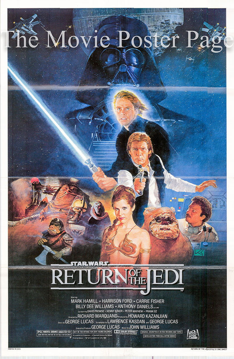 Pictured is a US one-sheet promotional poster for the 1983 Richard Marquand film The Return of the Jedi starring Mark Hamill.