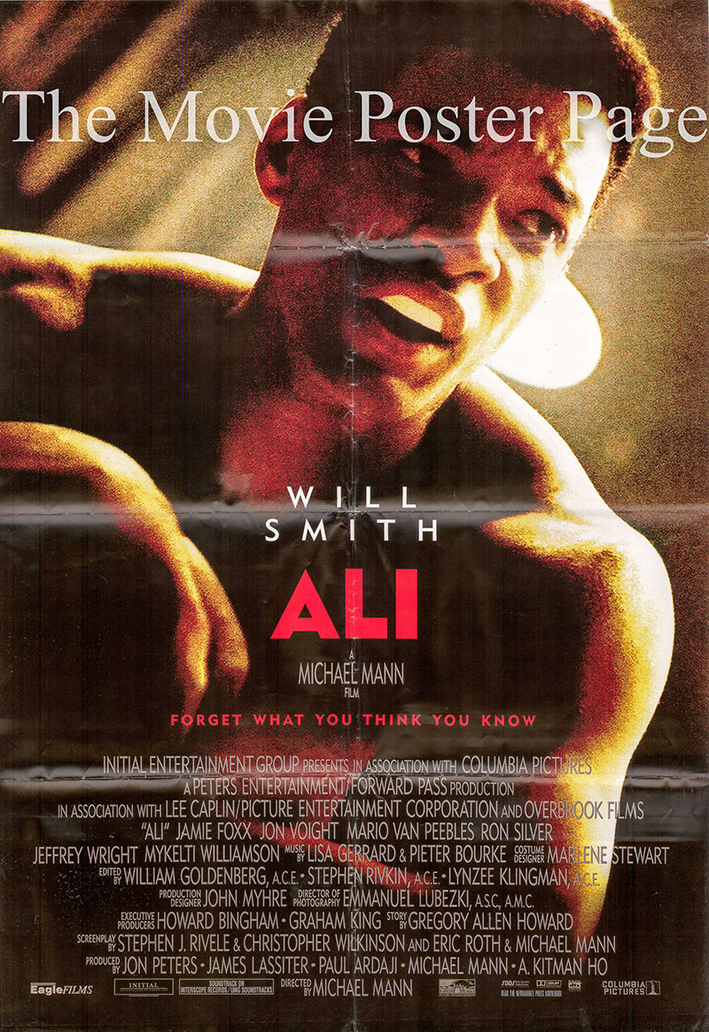 Pictured is a Lebanese promotional poster for the 2001 Michael Mann film Ali starring Will Smith.