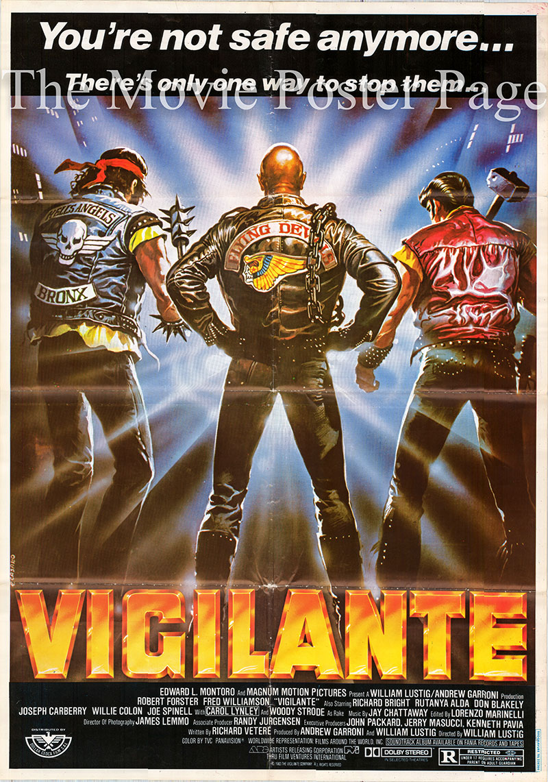 Pictured is a Lebanese promotional poster for the 1983 William Lustig film Vigilante starring Robert Forster.