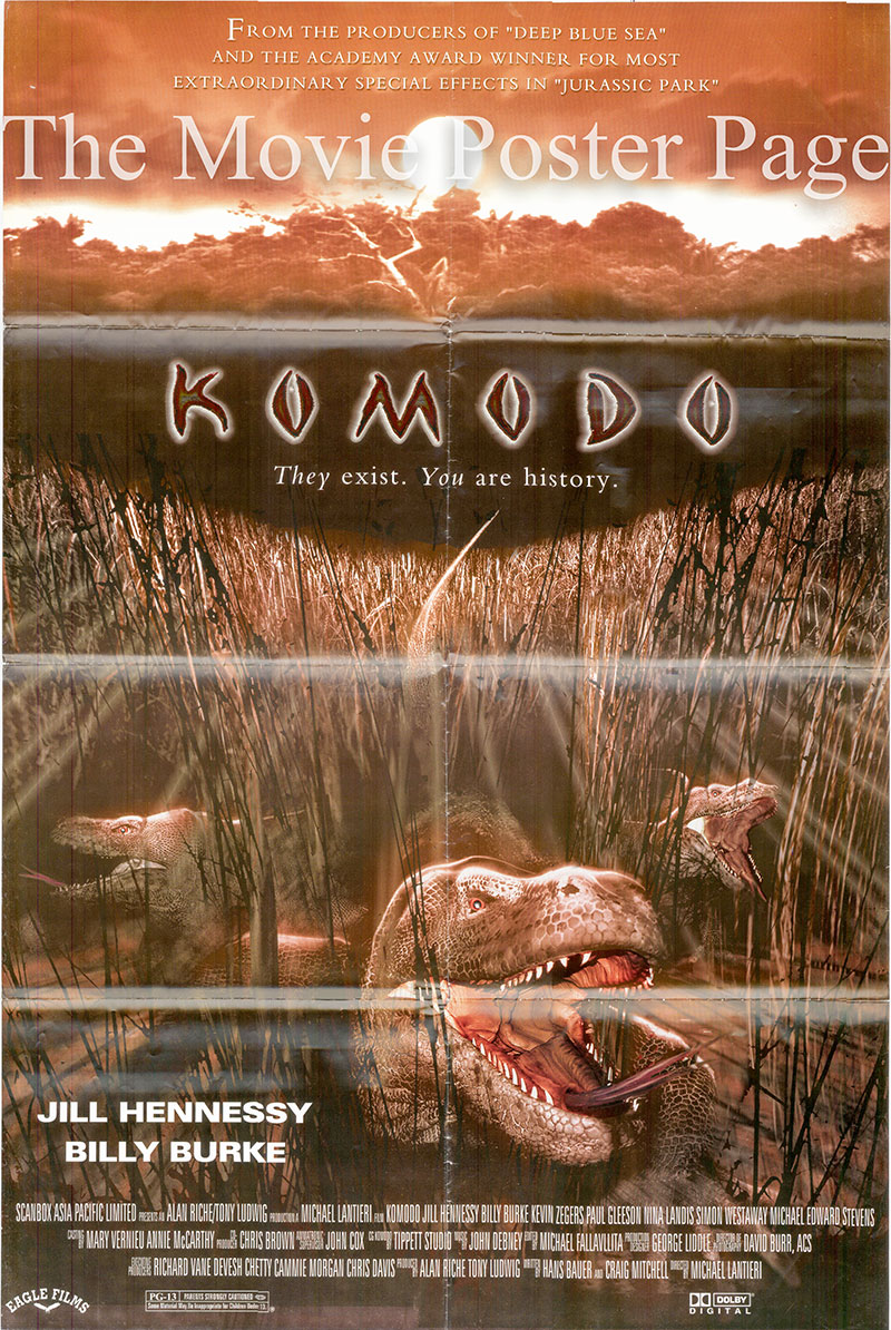 Pictured is a Lebanese promotional poster for the 1999 Michael Lantieri film Komodo starring Jill Hennessy and Billy burke.