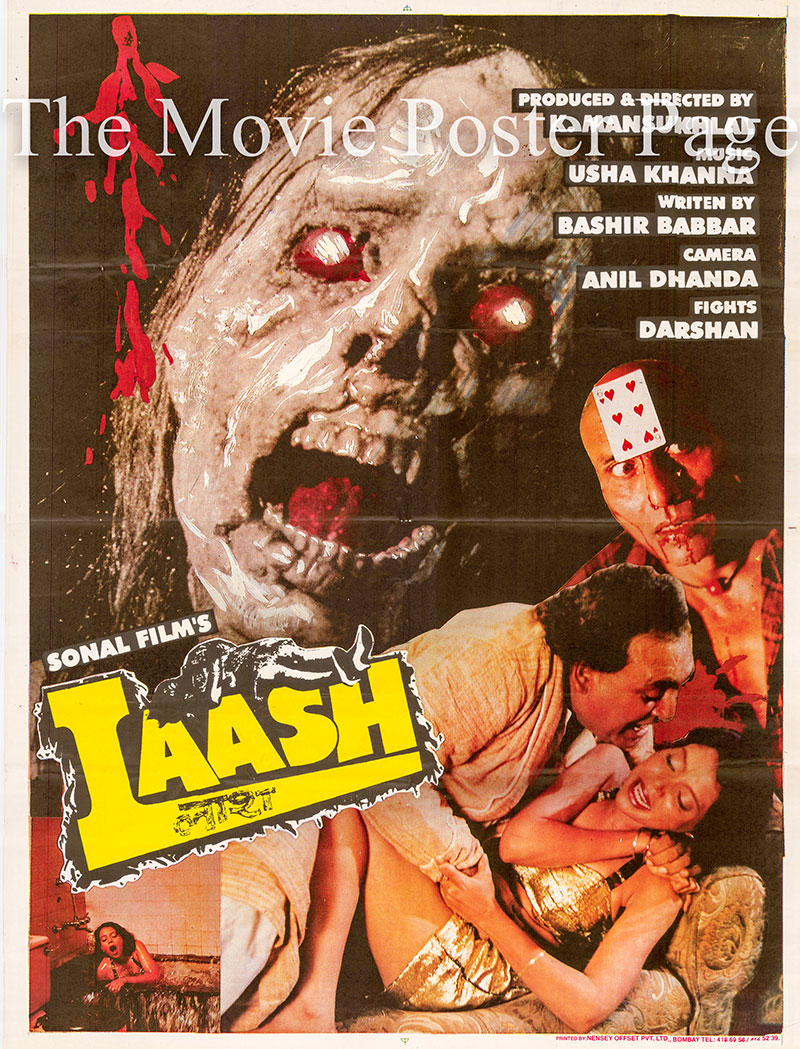 Pictured is an Indian one-sheet promotional poster for the 1998 K. Mansukh Lal film Laash starring Anil Dhawan.