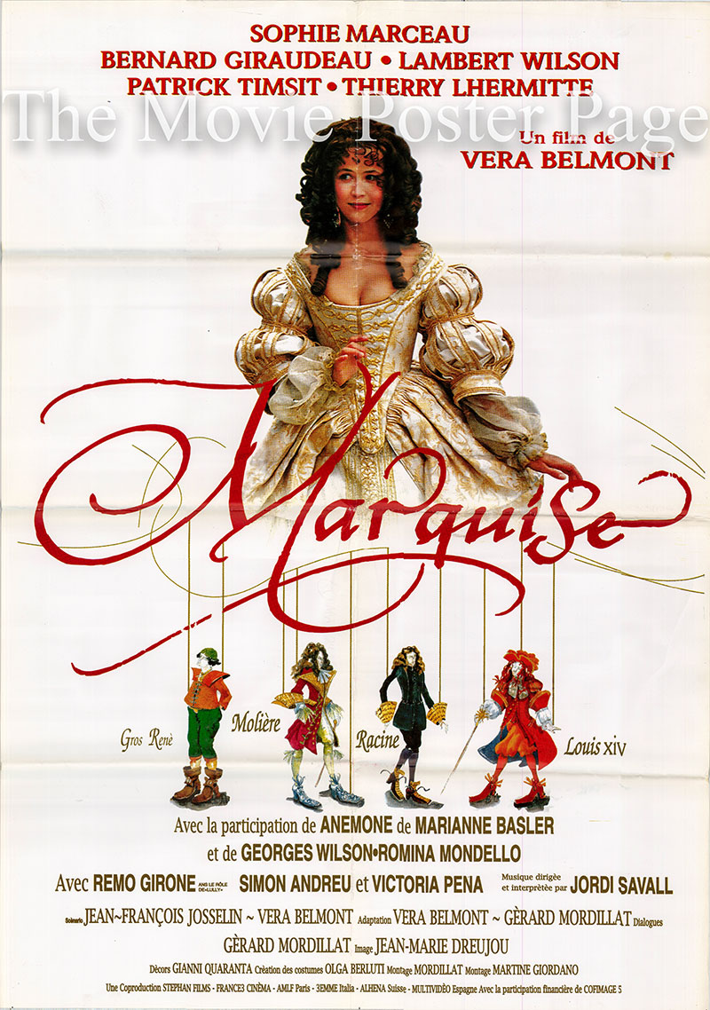 Pictured is a French one-sheet promotional poster for the 1997 Vera Belmont film Marquise starring Sophie Marceau.