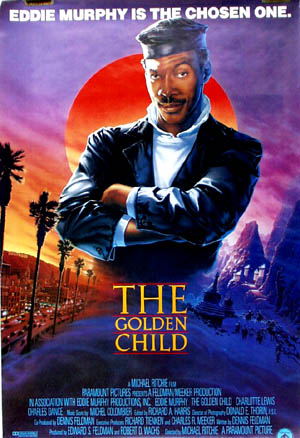 Pictured is a US promotional poster for the 1987 Michael Ritchie film The Golden Child starring Eddie Murphy.