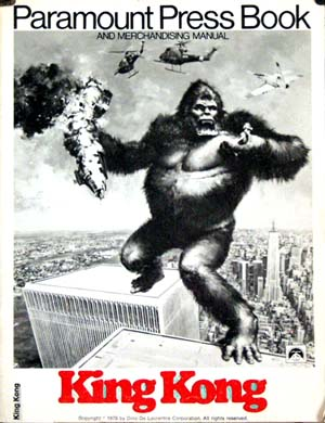 Pictured is a US press book for the 1976 John Guillermin film King Kong starring Jeff Bridges and Jessica Lange.