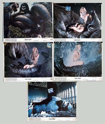 Pictured are five promotional color still photos from the 1976 John Guillermin film King Kong starring Jeff Bridges and Jessica Lange.