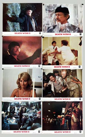 Pictured are 8 promotional color stills from the 1982 Michael Winner film Death Wish II starring Charles Bronson.
