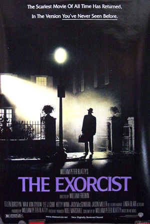 Pictured is a US one-sheet promotional poster for a 2000 rerelease of the 1973 William Friedkin film The Exorcist starring Linda Blair.