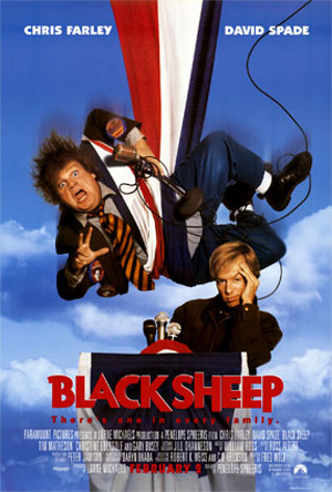Pictured is a US one-sheet promotional poster for the 1996 Penelope Spheeris film Black Sheep starring Chris Farley.