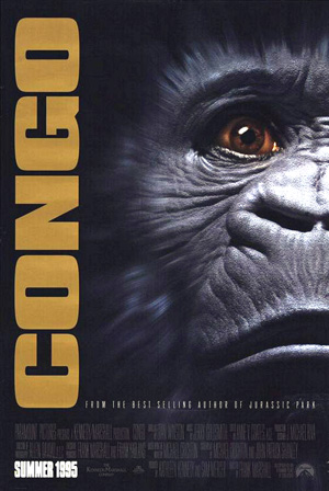Pictured is a US promotional poster for the 1995 Frank Marshall film Congo starring Laura Linney and Dylan Walsh.