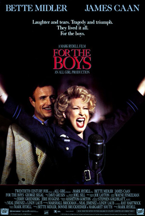 Pictured is a US one-sheet promotional poster for the 1991 Mark Rydell film For the Boys starring Bette Middler.