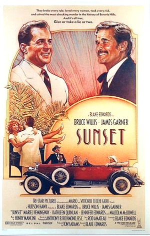 Pictured is a US one-sheet promotional poster for the 1988 Blake Edwards film Sunset starring Bruce Willis and James Garner.