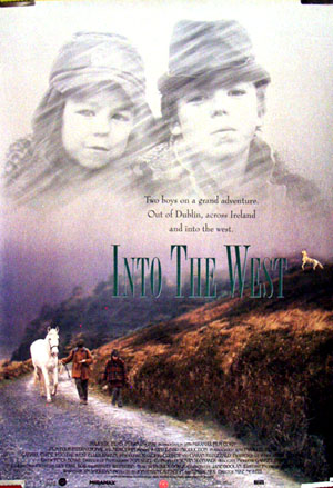 Pictured is a US one-sheet promotional poster for the 1992 Mike Newell film Into the West starring Gabriel Byrne.