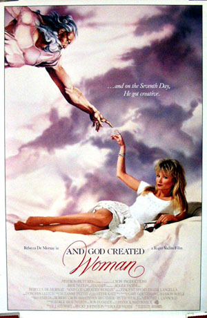 Pictured is a US one-sheet promotional poster for the 1988 Roger Vadim film And God Created Woman starring Rebecca De Mornay.