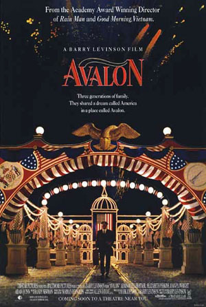 Pictured is a US one-sheet promotional poster for the 1990 Barry Levinson film Avalon starring Aidan Quinn.