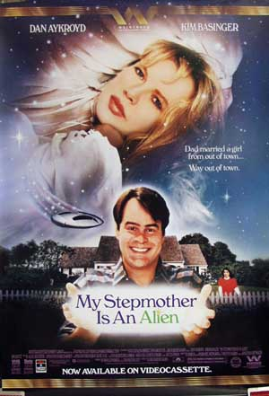 Pictured is a US promotional video poster for the 1988 Richard Benjamin film My Stepmother is an Alien, starring Dan Aykroyd and Kim Basinger.