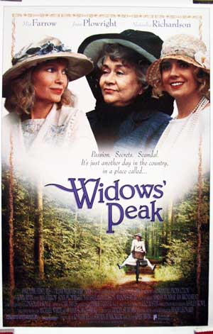 The image shows a US one-sheet promotional poster for the 1994 John Irvin film Widow's Peak, starring Mia Farrow.