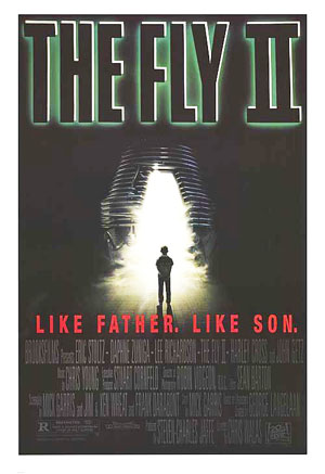 Pictured is a US promtional poster for the 1989 Chris Walas film The Fly II starring Eric Stoltz.