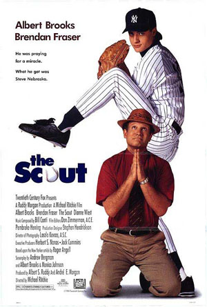 Pictured is a US one-sheet promotional poster for the 1994 Michael Richie film The Scout starring Albert Brooks and Brendan Fraser.