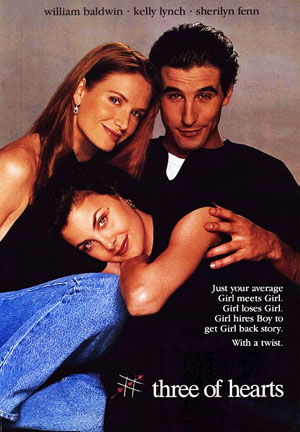 Pictured is a US one-sheet promotional poster for the 1993 Yurek Bogayevicz film Three of Hearts starring William Baldwin.